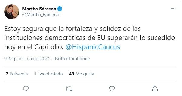La fortaleza y solidez de la democracia de EU superarán riesgos de polarización, afirma la embajadora de México en Washington, Martha Bárcena