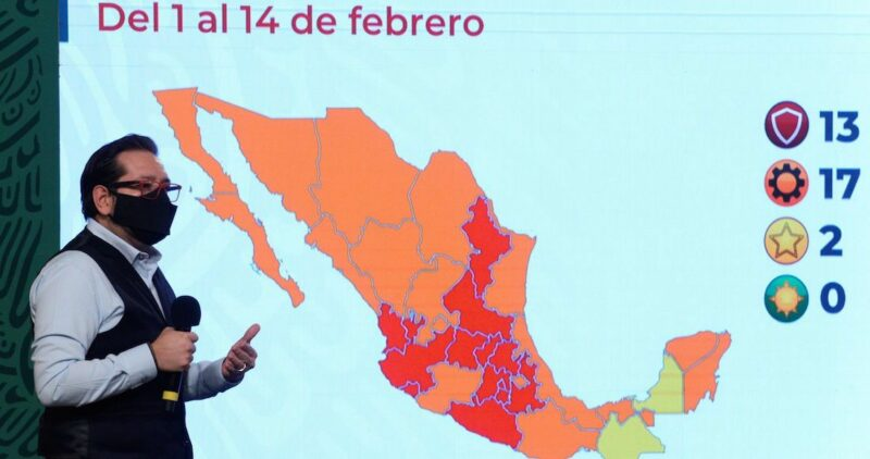México se queda sin estados en Semáforo Verde. 13 estarán en Rojo, 17 en Naranja, 2 en Amarillo