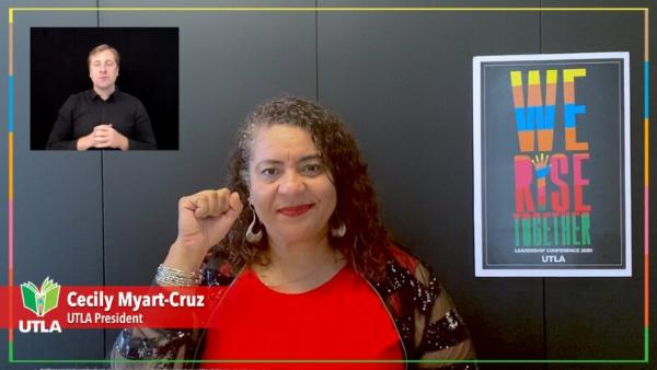 """""""Saquen la política de la pandemia"""", pide la lideresa de los maestros angelinos, Cecily Myart-Cruz, a quienes exigen el regreso a clases presenciales ignorando a la ciencia y la peligrosidad del COVID-19"""