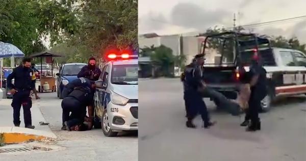 Video: Mujer es sometida con la rodilla en el cuello por policía de Tulum. Y muere, como el afroamericano George Floyd en EU