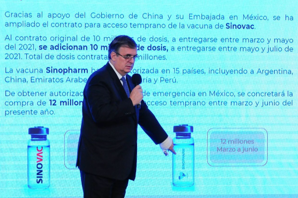 México amplía contrato con China hasta 22 millones de dosis de vacunas, anuncia el canciller Marcelo  Ebrard