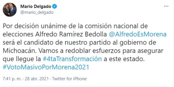 Alfredo Ramírez Bedolla sustituirá a Raúl Morón como candidato a gobernador de Morena en Michoacán. Salgado Macedonio, nuevo delgado en Guerrero