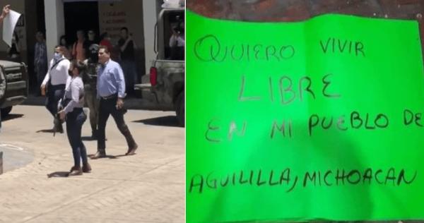Gobernador michoacano acusa de criminales a los que protestaban por inseguridad y empuja a uno. Las pancartas le pedían que hiciera su trabajo