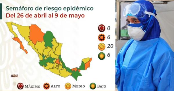MAPA   México tiene 20 estados en Amarillo por COVID; 6 se quedan en Naranja y otros 6 en Verde