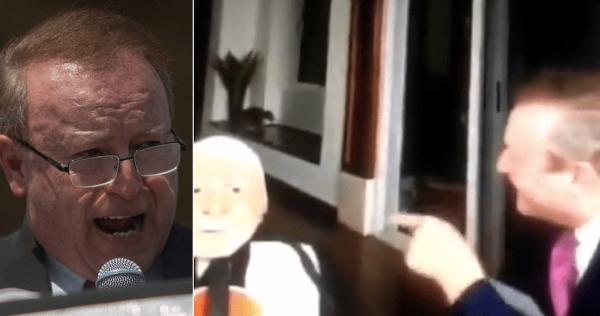 El polémico VIDEO del dirigente de FRENA, Gilberto Lozano, gritando a un maniquí de AMLO