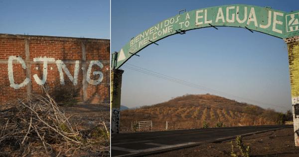"""FOTOS: """"CJNG"""", dicen los muros en El Aguaje, Aguililla. Ahí, cientos han huido por miedo a la muerte"""