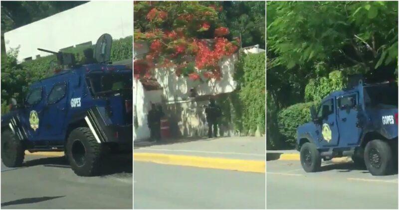 Video: Solicita México a Interpol ficha roja contra García Cabeza de Vaca para aprehenderlo si ya está fuera de México. Afuera de la casa de gobierno, vehículos armados de la policía, en Ciudad Victoria