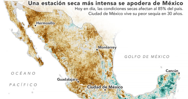 La NASA alerta que México vive la peor sequía en décadas. Datos al 15 de abril: en 85% falta el agua