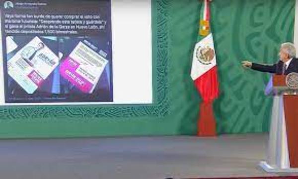 """Video: El candidato del PRI al gobbierno de Nuevo León ofrece mil 500 pesos bimestrales a cambio de voto, confirma AMLO. """"¿Cómo creen que me voy a quedar callado?"""", dice"""