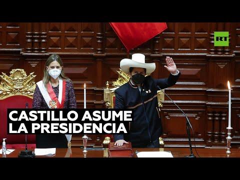 """Videos: Pedro Castillo asume la presidencia de Perú. """"Juro por un país sin corrupción y una nueva Constitución"""""""