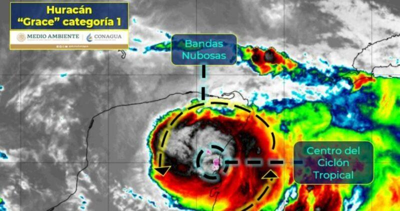 """Videos:  El huracán """"Grace"""", categoría 1,  toca tierra al sur de Tulum, en el corazón del turismo mexicano"""