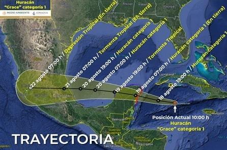 Grace ya es huracán categoría 1. En las primeras horas del jueves entrará a Quintana Roo. Son cencelados vuelos