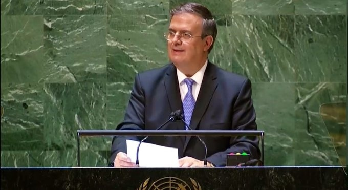 Video  Ebrard exhorta en la ONU a que se levante el bloqueo a Cuba y llamó a una distribución justa y equitativa de las vacunas contra la Covid-19