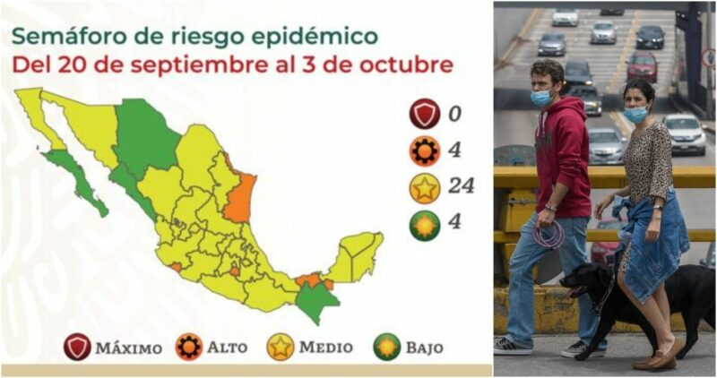 MAPA COVID | 24 estados están en Semáforo Amarillo; hay 4 en Naranja y 4 en Verde